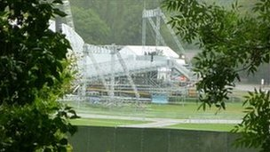 The Papal stage is erected in Cofton Park, Birmingham, ahead of the open-air Mass on Sunday