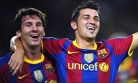 Lionel Messi and David Villa