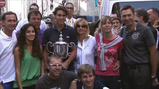 Rafa Nadal and admirers in Times Square