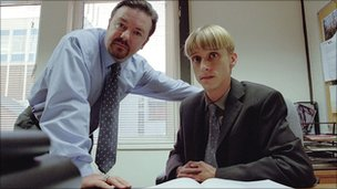 Ricky Gervais as David Brent and Mackenzie Crook as Gareth Keenan in The Office