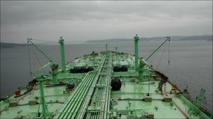 Former oil tanker, converted into floating oil terminal, off the coast of Murmansk in the Barents Sea