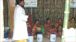 Village women being given a lesson in nutrition