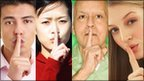 Montage of people putting finger to lips