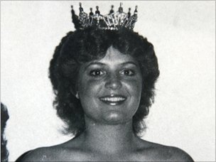 Sarah Palin after she won the Miss Wasilla beauty pageant in 1984