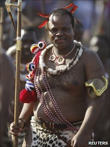 Swaziland's King Mswati III arrives for the annual Reed Dance at Ludzidzini in Swaziland August 30, 2010.