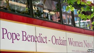 A London bus displays an advert calling for Pope Benedict to ordain women, 31 August 2010