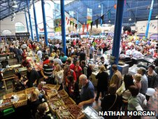 Visitors flock to the food stalls at the Abergavenny Food Festival
