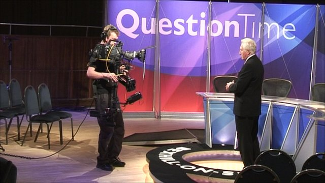 David Dimbleby on Question Time set