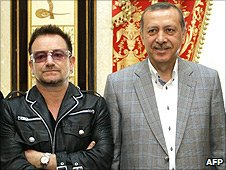 U2's Bono (L) and Prime Minister of Turkey Recep Tayyip Erdogan (R)
