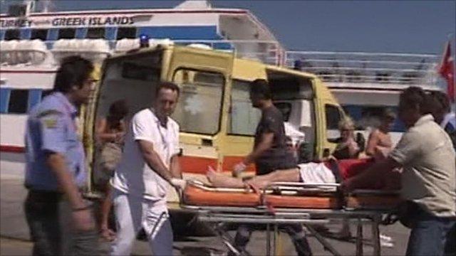 Injured tourist on stretcher