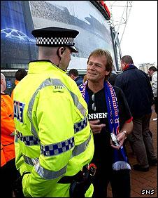 Rangers fans were held at Wigan's DW Stadium