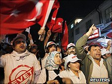 Supporters of Prime Minister Recep Tayyip Erdogan