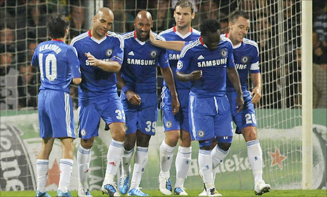 Chelsea celebrate on their way to victory over MSK Zilina