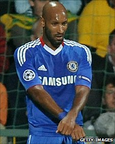 Chelsea striker Nicolas Anelka's celebration after scoring against MSK Zilina