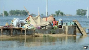 Flood affected area in Sindh on 15 September 2010