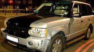 The bullet-ridden Range Rover