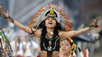 An actress performs in Mexico City during the opening ceremony for the independence bicentennial celebrations.