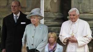 Pope Benedict XVI with the Queen and the Duke of Edinburgh