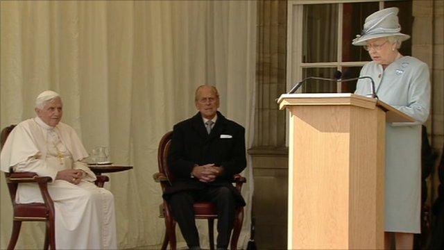 The Queen welcomes Pope Benedict XVI