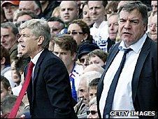 Arsenal manager Arsene Wenger and Blackburn boss Sam Allardyce