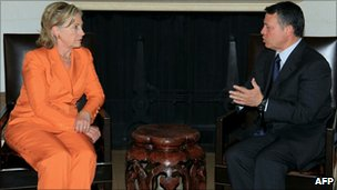 US Secretary of State Hillary Clinton with King Abdullah II at Beit Al-Urdun Palace in Amman (September 16, 2010)