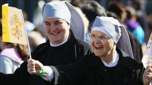 Nuns fly the flag for Pope Benedict XVI