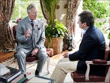 Prince Charles speaks with Alan Titchmarsh
