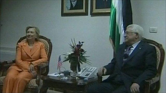 Hillary Clinton and Mahmoud Abbas