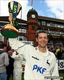Chris Read holds the County Championship trophy