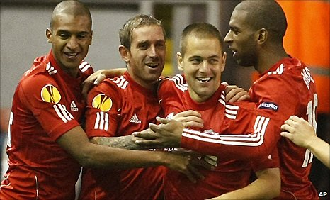 Joe Cole (second right) celebrates his goal for Liverpool with David Ngog (left), raul Meireles (second left) and Ryan Babel