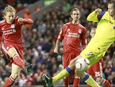 Liverpool midfielder Lucas Leiva (left) sends a shot powering into the Steaua Bucharest net during his side's 4-1 win over the Romanian side