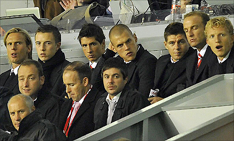 Top row from left: Christian Poulsen, Danny Wilson, Fernando torres, Martin Skrtel and Steven Gerrard were rested for the win over Steaua