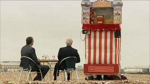 Stephen Smith and Lord Hodgson on Hastings beach