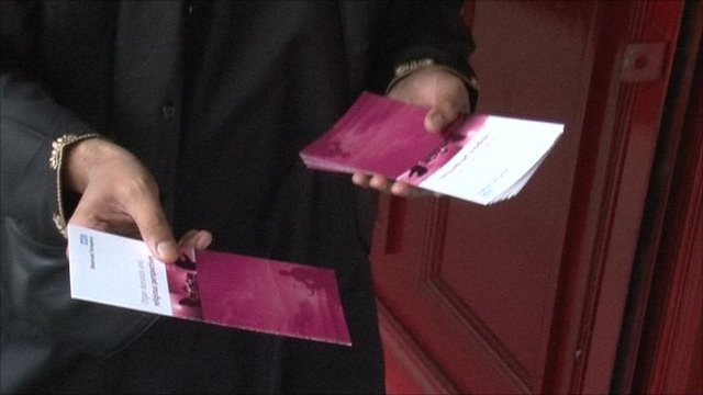 Handing out leaflets at London mosque