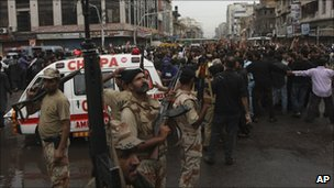 Pakistani paramilitary forces on alert in Karachi on 1 September 2010 after bombs targeted a Shia procession in Lahore.