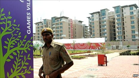 A security officer at the Games Village in Delhi