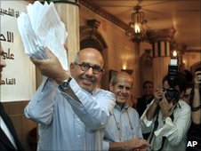 Mohamed ElBaradei waving petitions from supporters