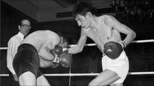 Johnny Owen (r) fighting Ireland's Paddy Maguire at the National Sporting Club, at London's Cafe Royal.