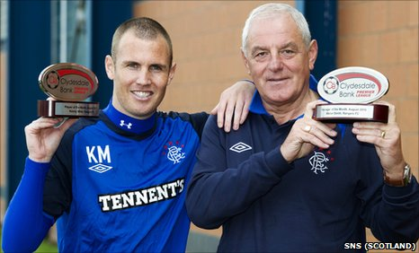Rangers striker Kenny Miller and manager Walter Smith