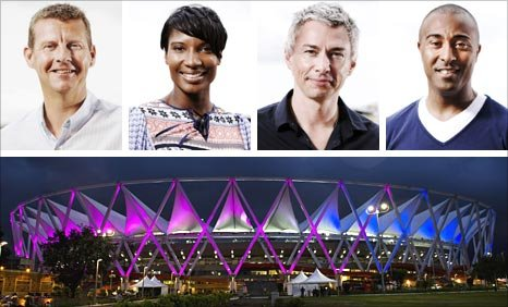 Clockwise from top left: Steve Cram, Denise Lewis, Jonathan Edwards, Colin Jackson and Jawaharlal Nehru Stadium