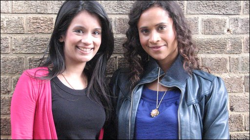 Sonali with Angel Coulby, who plays Gwen in Merlin