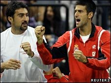 Nenad Zimonjic and Novak Djokovic