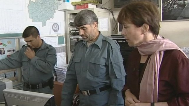 Lyse Doucet and police at the operations centre