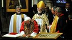 The Pope signing the vistors' book at Westminster Abbey
