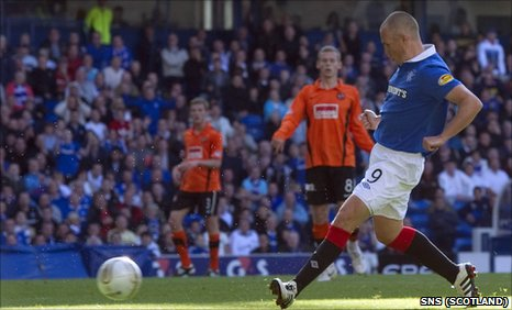 Kenny Miller scores for Rangers against Dundee United