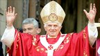Pope Benedict XVI greets the crowds outside Westminster Cathedral