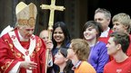Pope Benedict XVI speaks with young people