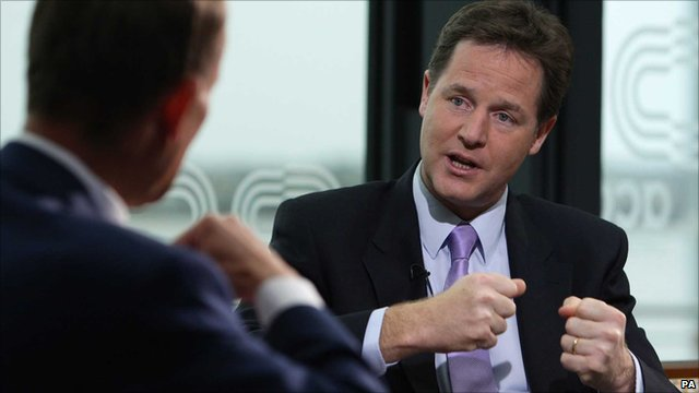 Nick Clegg, Deputy Prime Minister and Leader of the Liberal Democrats, talks to Andrew Marr