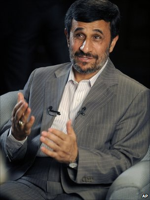 Iranian President Mahmoud Ahmadinejad is interviewed by journalists from the Associated Press in New York