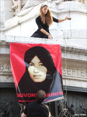A rally against the death-by-stoning sentence of Iranian woman Sakineh Mohammadi Ashtiani in Paris on 12  September 2010